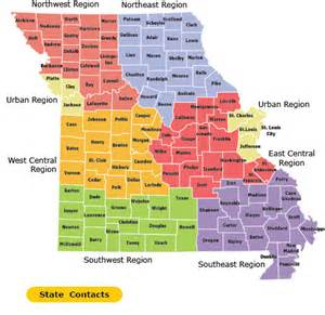 State of Missouri Map with Counties