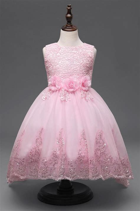 princess girls flower dresses white red pink lace flower