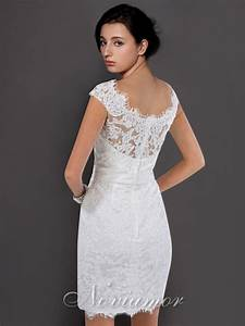 Chic collections of short lace wedding dresses with cap for Short white wedding dress with sleeves