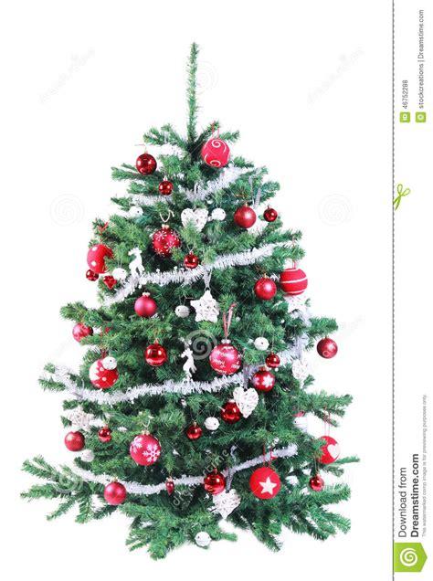 albero di natale rosso e d argento decorato variopinto