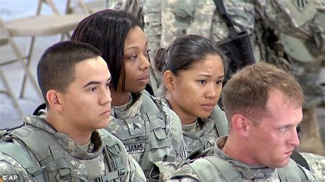 military putting male  female soldiers  combat