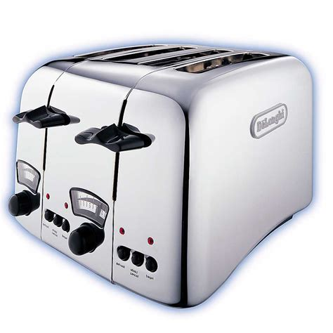 Delonghi 4 Slice Toaster by Delonghi Argento 4 Slice Retro Toaster Chrome Ct04c