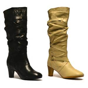 womens size 12 slouch boots womens leather knee high slouch mid heel biker boots shoes size ebay