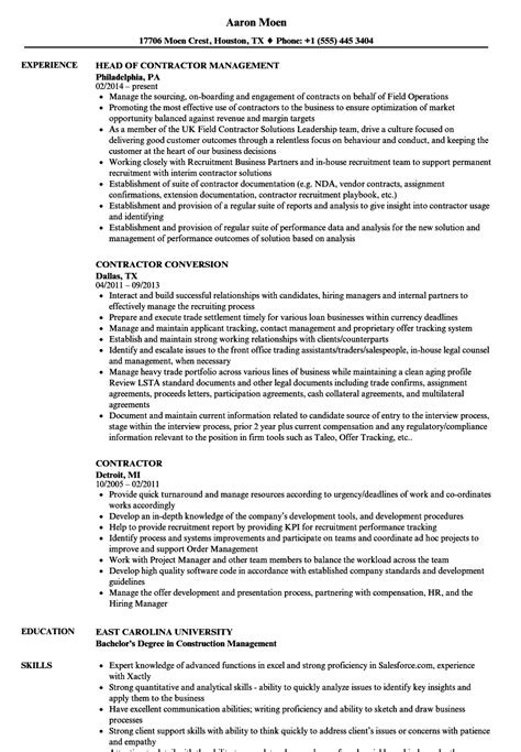 Contractor Resume by Contractor Resume Sles Velvet