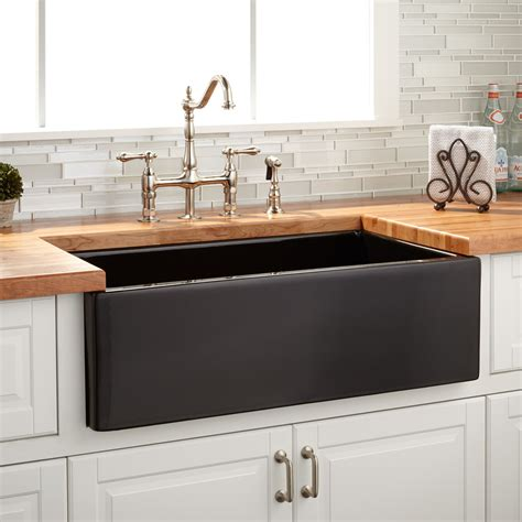 grigham reversible farmhouse sink black kitchen