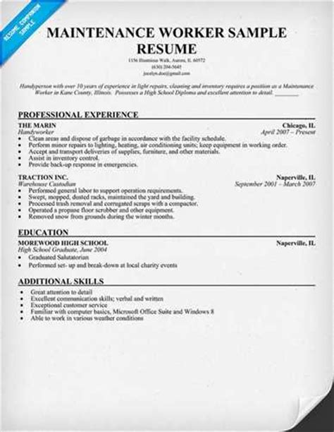 Building Maintenance Resumes by Luck With The Building Maintenance Resume Sle
