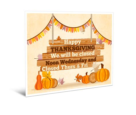 closed  thanksgiving sign template festival