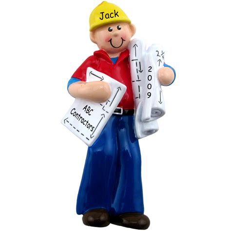 builder contractor architect christmas ornament