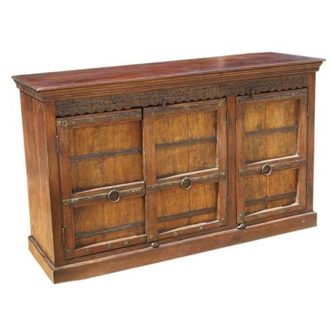 reclaimed wood rustic sideboard metal accent storage cabinet buffet