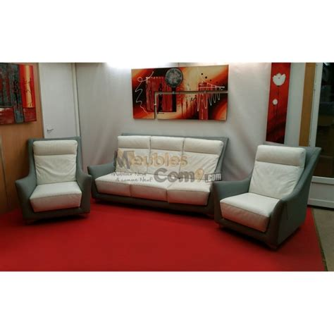 ensemble salon cuir bicolore canap 233 3 places 2 fauteuils