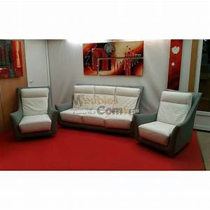 ensemble salon cuir bicolore canape 3 places 2 fauteuils With ensemble canapé 3 places et 2 fauteuils