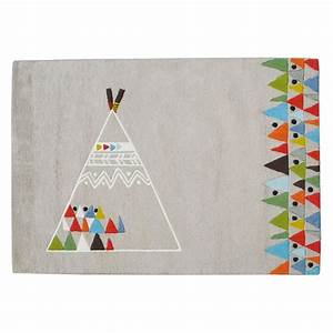 tapis enfant coton teepee gris lilipinso 120x170 With tapis enfant coton