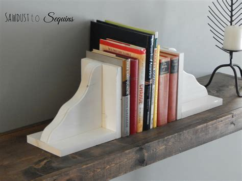 diy wood bookends sawdust  sequins