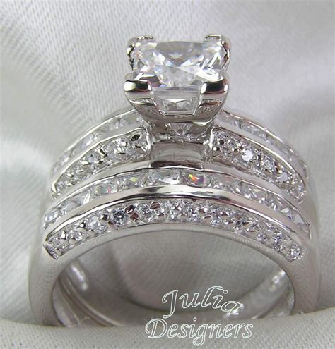 2 53ct princess cut engagement wedding ring set sterling