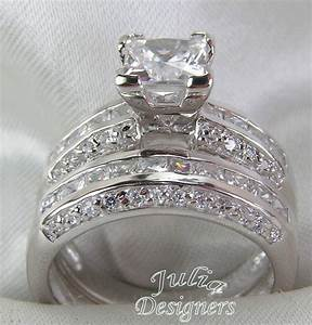 253ct princess cut engagement wedding ring set sterling for Wedding ring engagement ring set