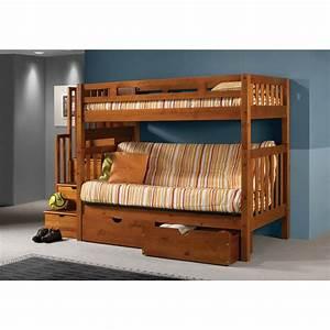 Donco Kids Stairway Loft Bunk Bed with Storage Drawers