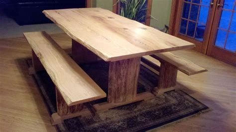 live edge oak table hand made red oak live edge dining table and benches by