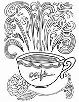 Coloring Coffee Printable Complex Cup Adult Theme Colouring Adults Printables Sheets Getcolorings Cups Mug Momsandcrafters Crafts Template Doodle Please sketch template