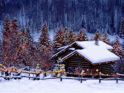 Christmas Animated Lights Cabin Snow Winter Lovethispic