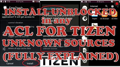how to install unblocked in acl for tizen for unknown sources not for 2 3 3 acl samsung z1 z2