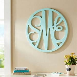 wooden cut out script monogram pbteen With monogram letters above bed