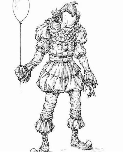 Clown Scary Halloween Coloring Pages Horror Drawing