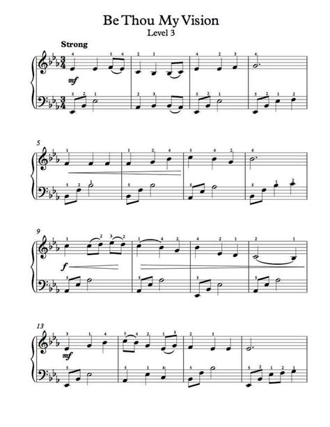 free piano arrangement be thou my vision level 3 free sheet music pinterest level 3