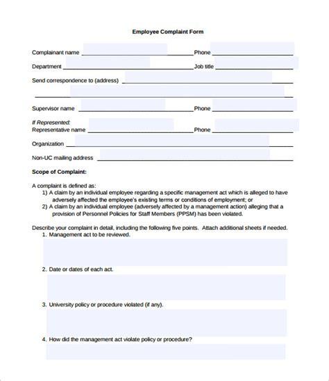 hr complaint forms  sample  format