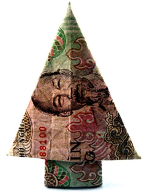 fold dollar into christmas tree money origami tree