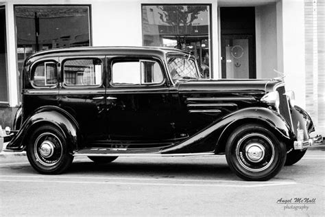 Black And White Antique Old Car 1930's Chevy Sedan