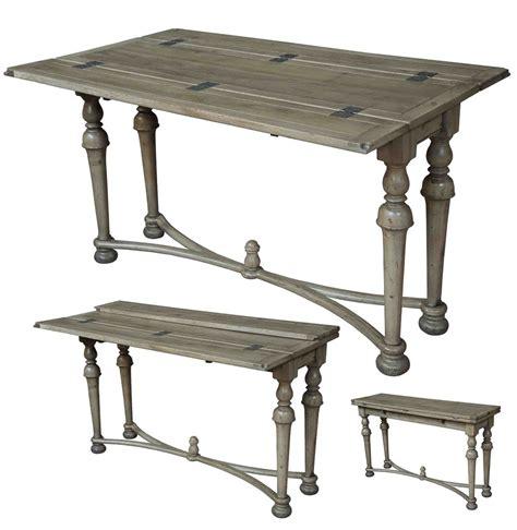 driftwood finish walnut  brass folding console table
