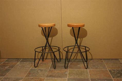 wood and iron bar pair of wrought iron and wood bar stools at 1stdibs