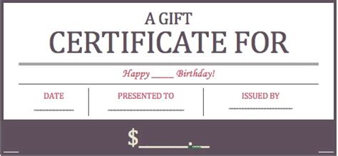 birthday gift certificate templates wikidownload