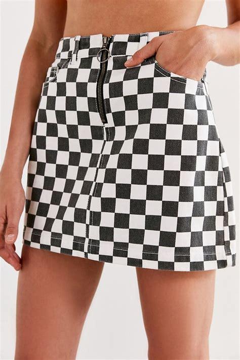 bdg checkered denim zip mini skirt urban outfitters