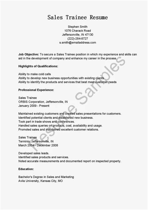 sales trainee resume sle resume sles resame