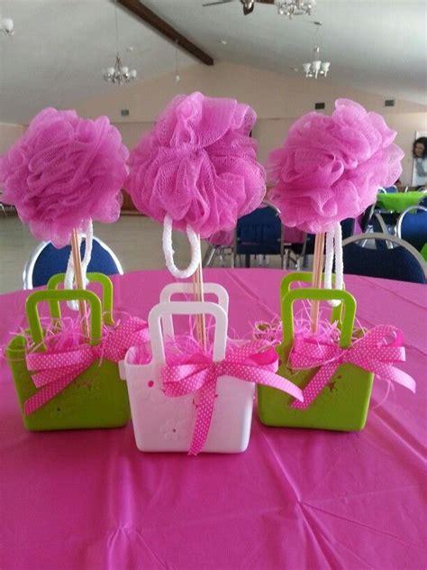 spa party centerpiece loofah centerpiece party ideas