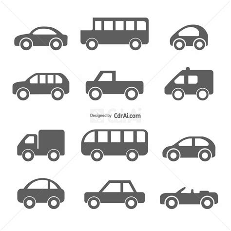 Car Icons Vector Cdr Ai Eps Files Free Download