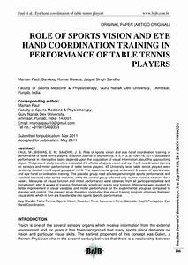 (PDF) ROLE OF SPORTS VISION AND EYE HAND COORDINATION TRAINING IN PERFORMANCE OF TABLE TENNIS ...  Table Tennis Sports