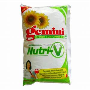 Gemini Refined Sunflower Oil With Nutri-V 1 Litter Oil