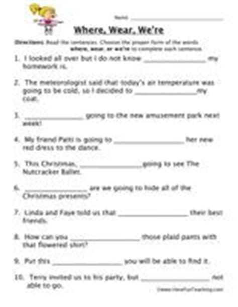 homophone worksheet where wear we re we and