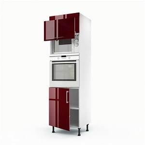 Meuble de cuisine colonne rouge 3 portes Griotte H 200 x l