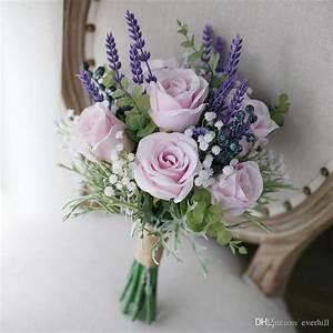 Bouquet De Mariage : jane vini artificial pink roses purple lavender wedding ~ Preciouscoupons.com Idées de Décoration