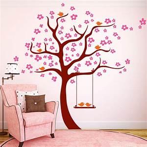 Baum Mit Blüten : bl ten baum mit v geln und schaukel 3farbig wandtattoo ~ Frokenaadalensverden.com Haus und Dekorationen