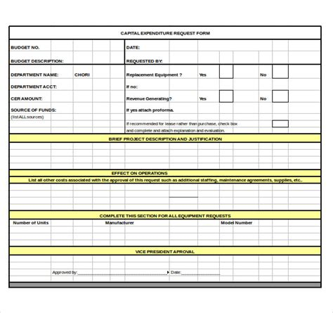 Capital Expenditure Justification Template by Capital Expenditure Budget Template 6 Free Word Excel