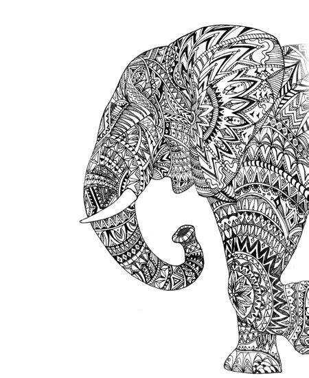 drawing elephant side view graphic art hand drawing