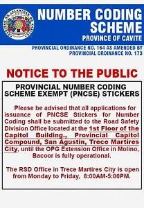 Housekeeping Schedule Number Coding Scheme Ordinance Of The Province Of Cavite