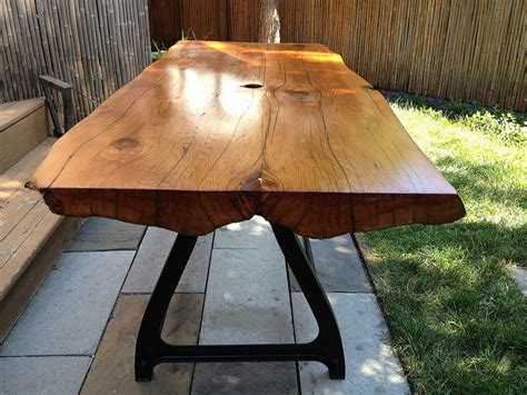reclaimed  edge wood slab table wrought  lindalouvintage