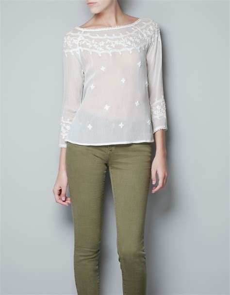 zara blouse zara blouse embroidered with flowers and pearls in white