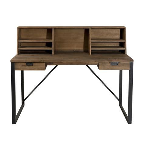 bureau et etagere bureau 2 tiroirs bois et métal avec étagères dpi import