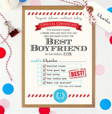 personalised  boyfriend certificate  eskimo kiss